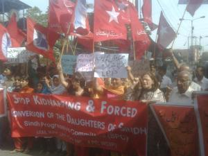 various hindu-sikh and leftist organisation protest against the religious conversions of the hindu girls