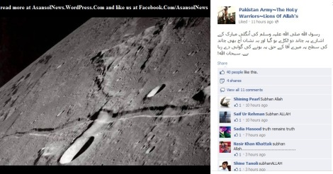 Semi official Facebook Page of Pakistan Army says that Moon was split onto two and fans nod their heads