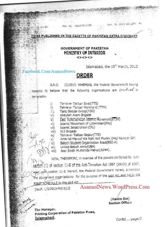 The Pakistani Government Order to ban JSMM and BSO Azad