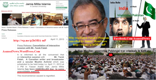 Tarek Fatah's program was cancelled by Jamia which has historical connections with Pakistan and that is why they did not allow an allegedly anti-Pakistan figure